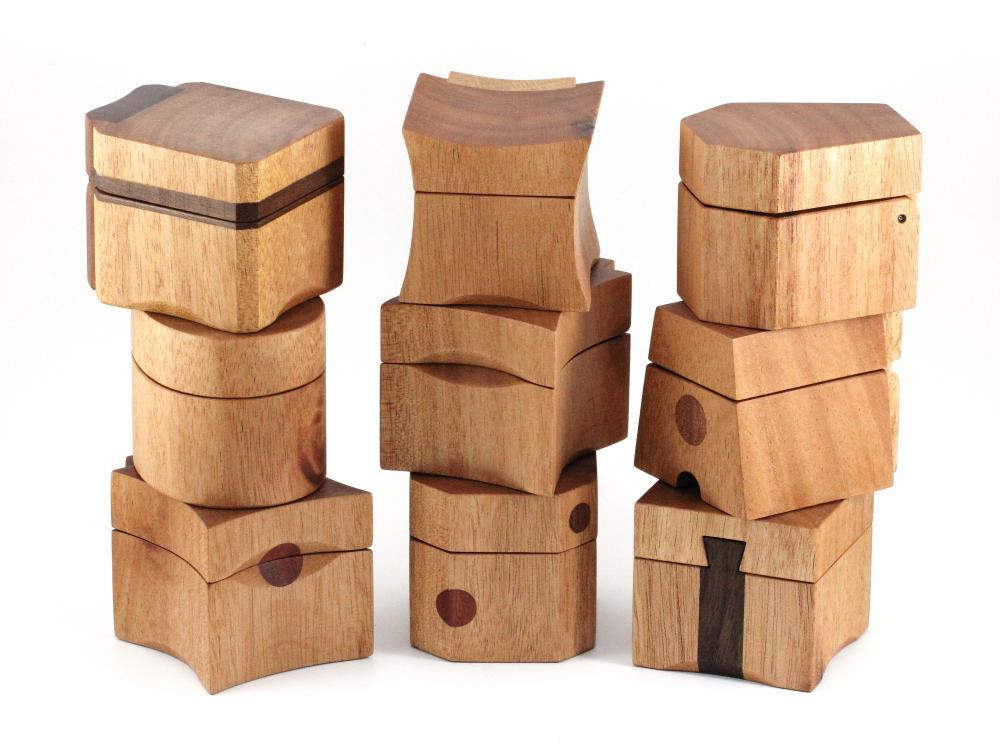 Stack of Queensland Maple Ring Boxes