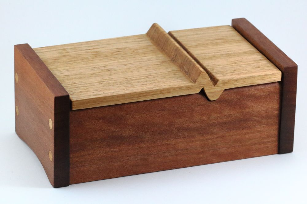 Wooden Keepsake Box with heartbeat lid