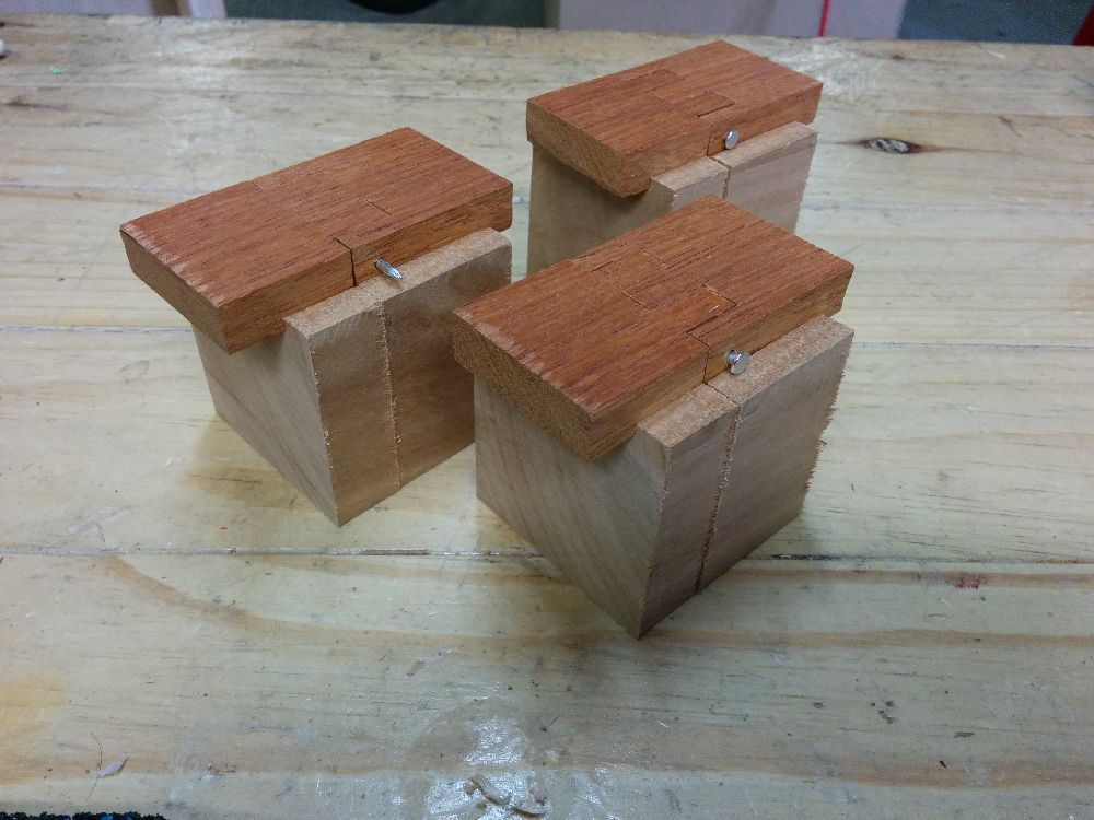 Testing the fit of the wooden hinges