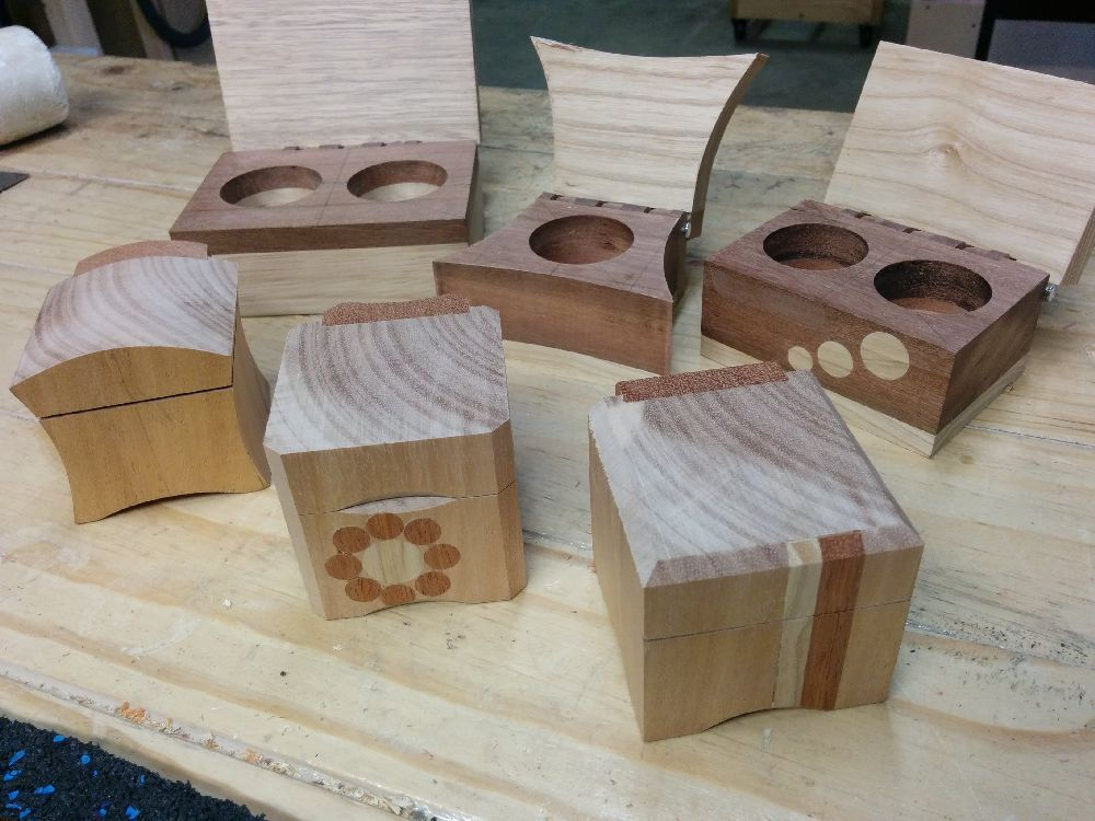 Wooden Ring Boxes After Initial Sanding