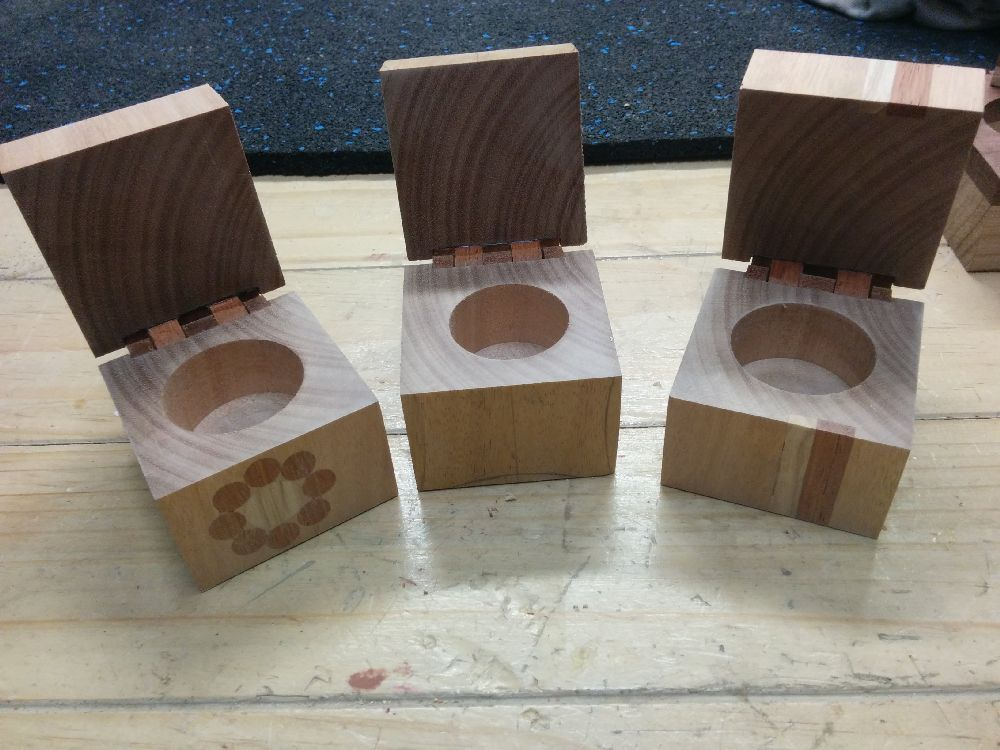Wooden Ring Boxes with hinges attached