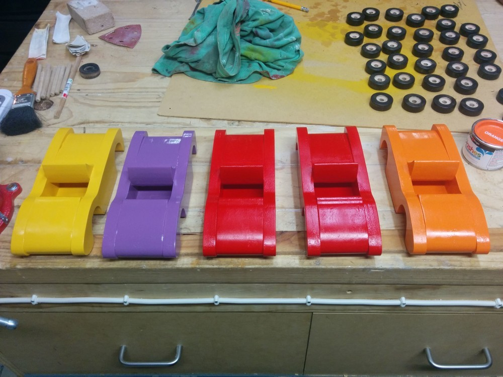 Painting the wooden toy cars